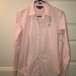 Women's Ralph Lauren Pink Stripped Button Down
